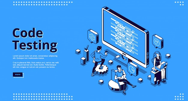 Cartoon banner of code testing