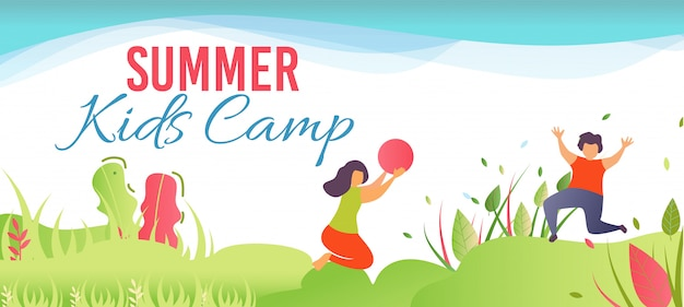Cartoon banner promoting summer camp per bambini nella foresta