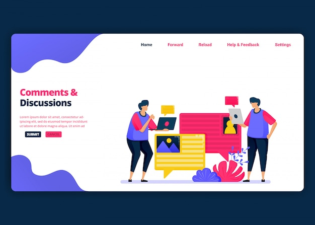 Cartoon banner template for discuss and comment with colleagues about work. landing page and website creative design templates for business.