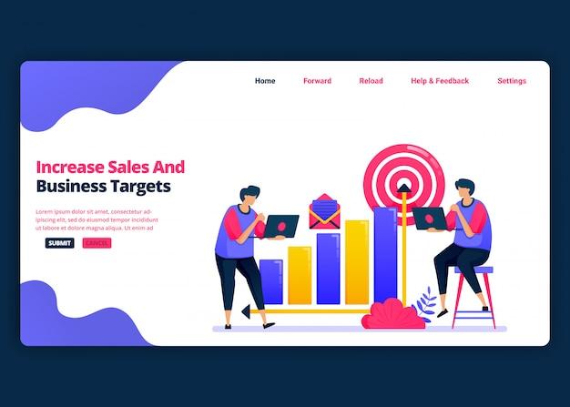 ビジネスでの売り上げと利益の増加目標のための漫画バナーテンプレート。ビジネスのランディングページとウェブサイトの創造的なデザインテンプレート。