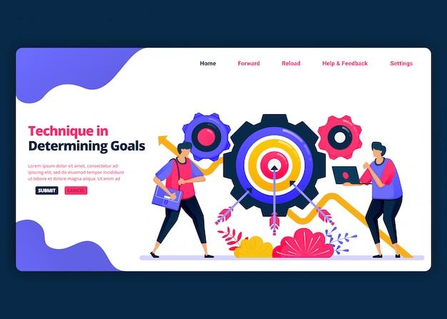 기술 및 목표 성장을 결정하는 방법에 대한 만화 배너 템플릿입니다. 비즈니스를위한 방문 페이지 및 웹 사이트 크리에이티브 디자인 템플릿. 프리미엄 벡터