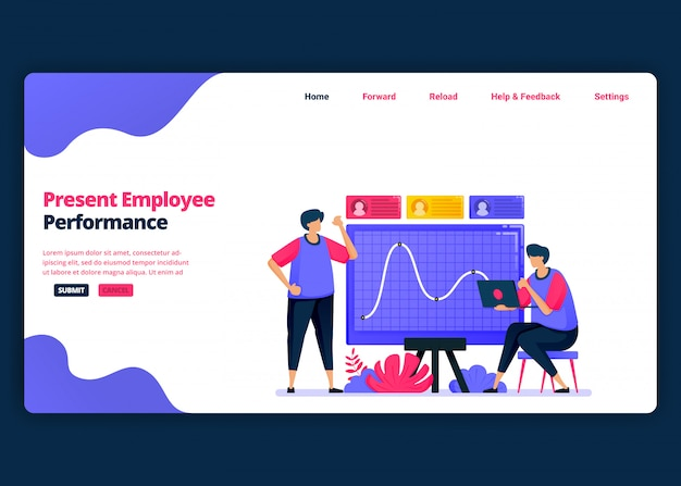 Cartoon banner template for presentation of employee performance for promotions. landing page and website creative design templates for business. can be used for web, mobile apps, posters