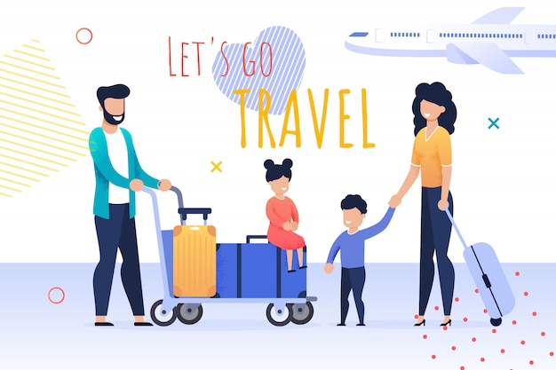 Cartoon banner with lets go travel motivate quote
