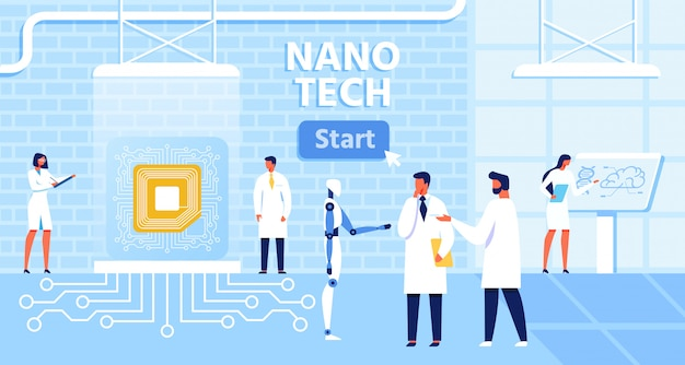 Cartoon banner with start button for presentation nano tech laboratory and effective