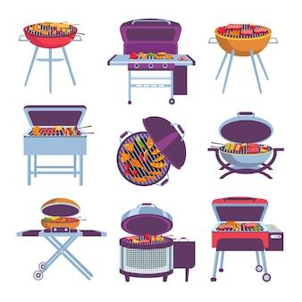 만화 바베큐 그릴. 튀김 음식 고기, 야채, 소시지, 닭고기를 넣은 바베큐 오븐. 야외 모바일 숯 화로는 벡터 세트를 디자인합니다. 야외 피크닉을 위한 다양한 휴대용 장비