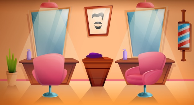 漫画の理髪店の家具や設備、イラスト