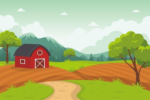 Мультяшный сарай с красивым сельским пейзажем, сельское хозяйство и фермерство