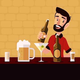カウンターイラストでビール瓶とさまざまな飲み物を保持している漫画のバーテンダー
