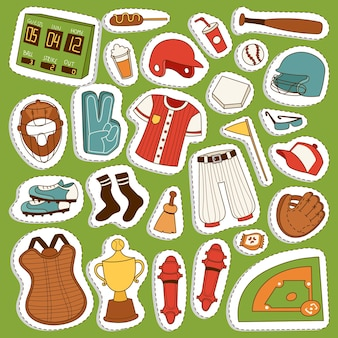 Cartoon baseball game player clothes uniform ball glove and object baseball icons