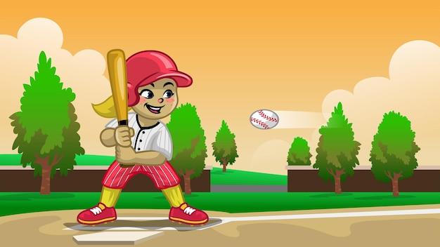 Мультяшный бейсболистка на поле