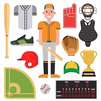 Cartoon baseball player batting set