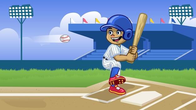 Мультяшный бейсболист играет на стадионе