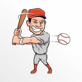 Cartoon baseball player vector illustration