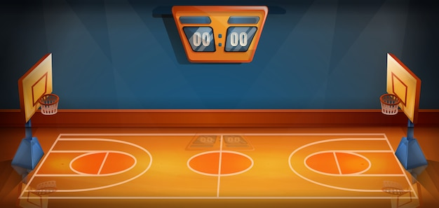 Cartoon basketball field with scoreboard, vector illustration