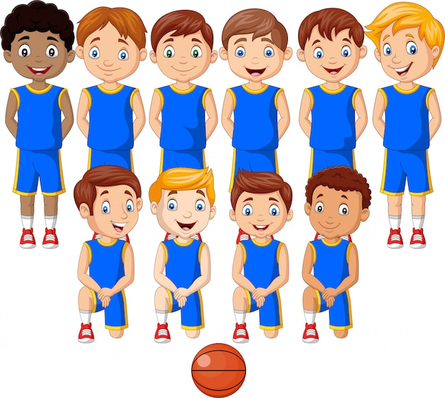 Cartoon basketball kids team in uniform