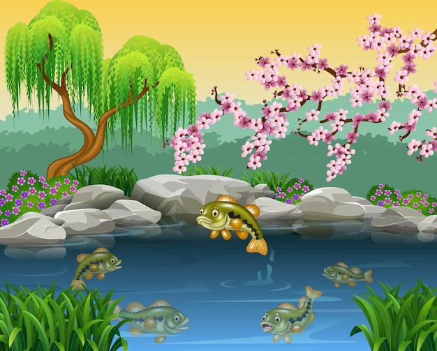 Cartoon bass fish collection in a pond