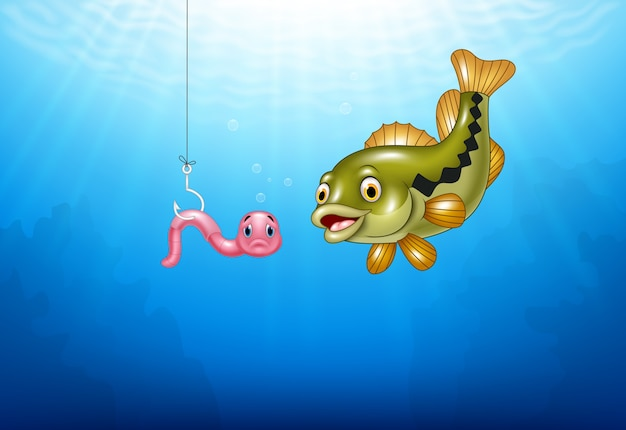 Cartoon bass fish hunting a pink worm