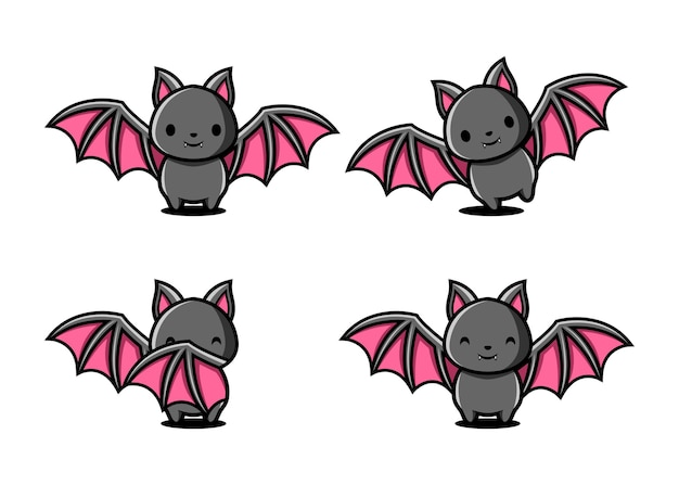 Cartoon bat character set