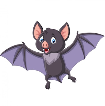 Cartoon bat flying isolated on white background