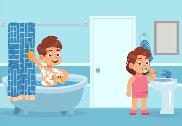 漫画風呂。子供たちは水処理をします。男の子はシャンプーフォームで洗い、女の子はバスルームのインテリアで歯磨き粉で歯を磨いています。ボディケアと衛生の概念。フラットベクトル図