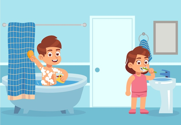 Cartoon bath. children take water treatments. boy washes with shampoo foam, girl is brushing teeth with toothpaste in interior of bathroom. body care and hygiene concept. flat vector illustration