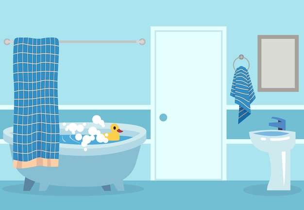 Cartoon bath. cute white hot shower and bathtub with bubbles and toy in inside bathroom isolated  relaxing room illustration