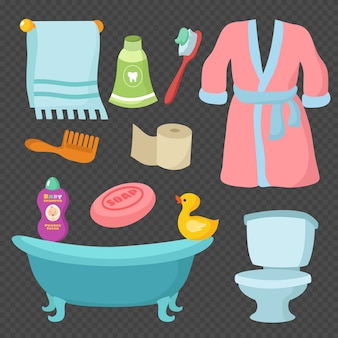 Cartoon bathroom accessories vocabulary isolated on transparent background