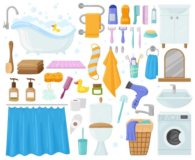 漫画のバスルーム要素、バスタブ、シンク、シャワー、タオル、石鹸。お風呂、衛生用品、トイレ、洗濯機、タオルベクトルイラストセット。バスルームの要素