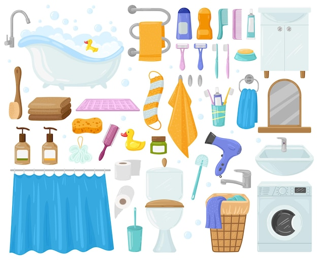 Cartoon bathroom elements, bathtub, sink, shower, towels and soap. bath, hygiene products, toilet, washing machine, towels vector illustration set. bathroom elements