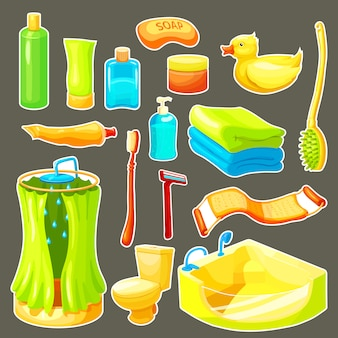 Cartoon bathroom icon set
