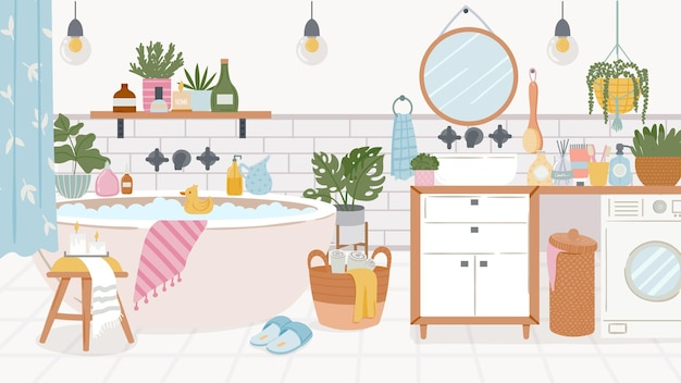 Cartoon bathroom interior. foam bathtub with curtain, sink, washer and mirror. shelf with bath goods and product. cozy room vector furniture. illustration interior room with bath