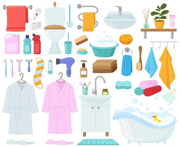 漫画の浴槽、タオル、衛生用品、バスルーム。浴室の衛生、バスローブ、バスタブ、シンクのベクトルイラストセット。浴室の漫画。歯ブラシと歯磨き粉、お風呂用シャンプーアクセサリー