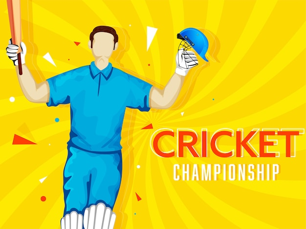 Cartoon batsman player in winning pose on yellow rays background for cricket championship concept.