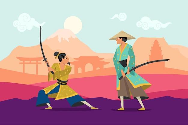 Cartoon battaglia di due guerrieri orientali in kimono