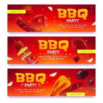 Set di banner per feste barbecue di cartoni animati