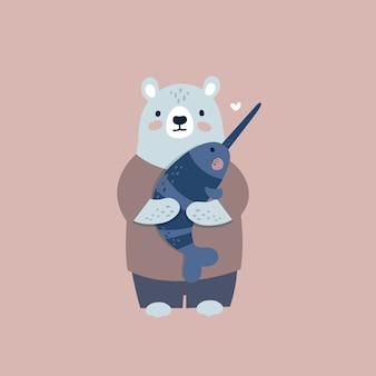 Мультяшный медведь и рыба-единорог