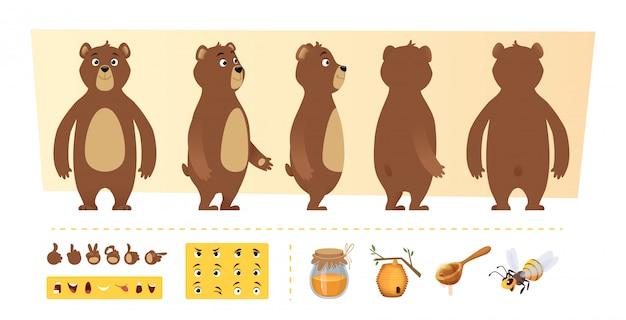 만화 곰 애니메이션. 귀여운 야생 동물 신체 부위 및 자연 아이템 꿀 나무 캐릭터 제작 키트
