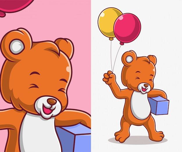 漫画のクマが風船とギフトプレゼントをもたらす