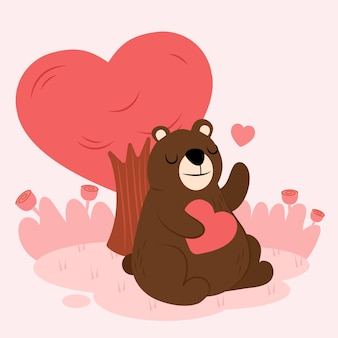 Cartoon bear character in love with heart and tree