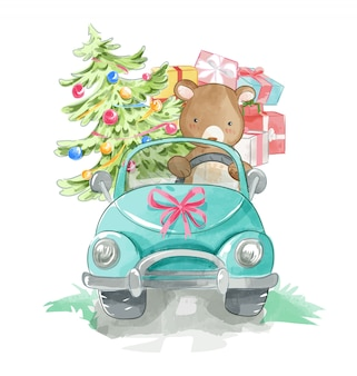 Cartoon bear driving a car with present boxs