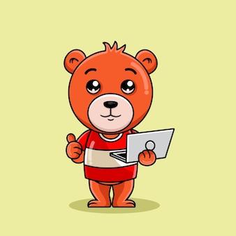Мультяшный медведь держит ноутбук одной рукой