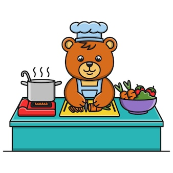Cartoon bear is cooking vegetable soup