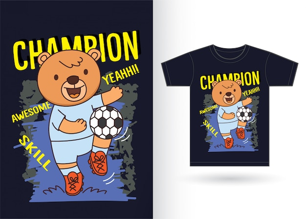 Cartoon bear playing soccer for t shirt
