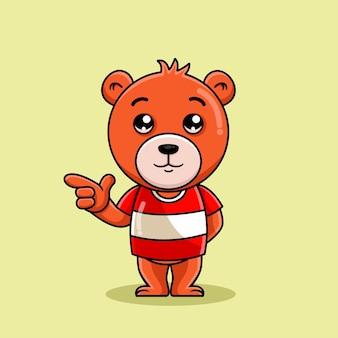 Поза мультяшного медведя, указывающая на правую иллюстрацию