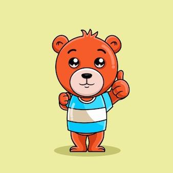 Поза мультяшного медведя поднимает большой палец вверх иллюстрации