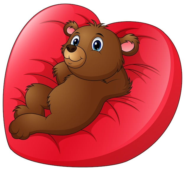 Cartoon bear relax on heart shaped bed
