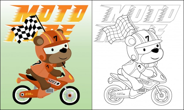 Cartoon of bear riding motorbike carrying finish flag