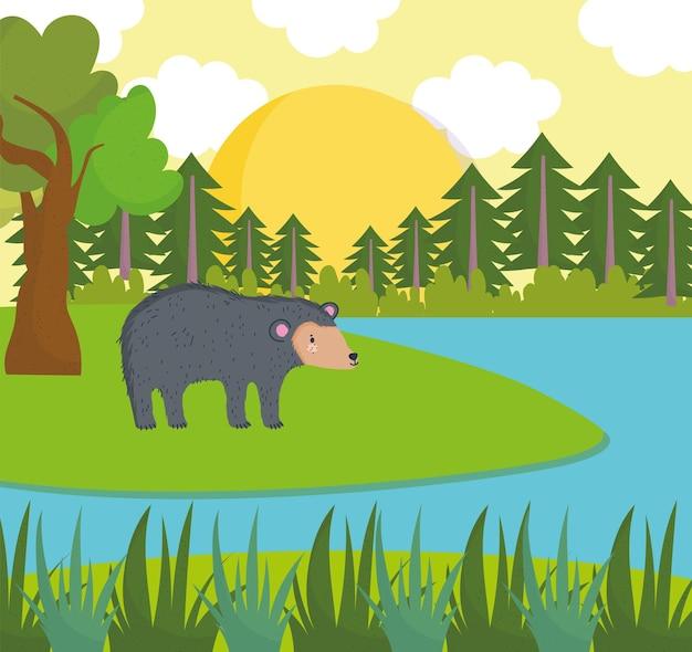 Мультипликационная река медведя