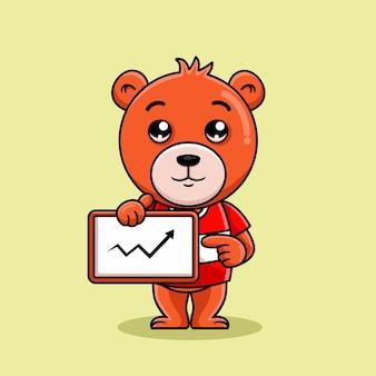 Мультяшный медведь показывает статистику бизнесу