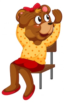 Cartoon bear sitting on chair